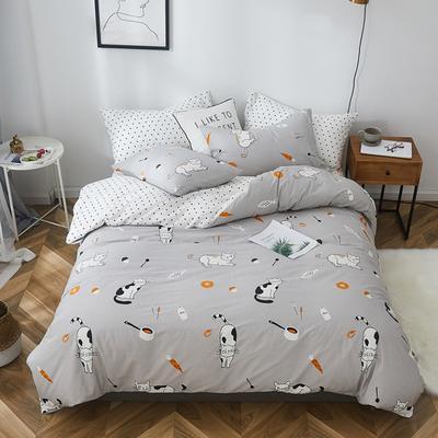 2019新款-全棉小清新系列四件套 三件套1.2m(4英尺)床 拉面