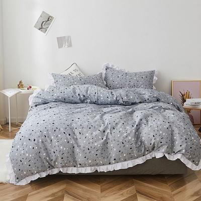 2019新款-全棉13070小清新花边四件套 三件套1.2m(4英尺)床 彩石蓝花边款