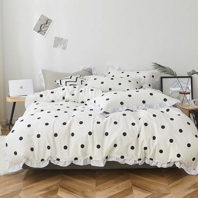 2019新款-全棉13070小清新花边四件套 1.5m(5英尺)床 点点白