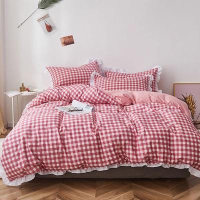 2019新款-全棉13070小清新花边四件套 三件套1.2m(4英尺)床 红白格