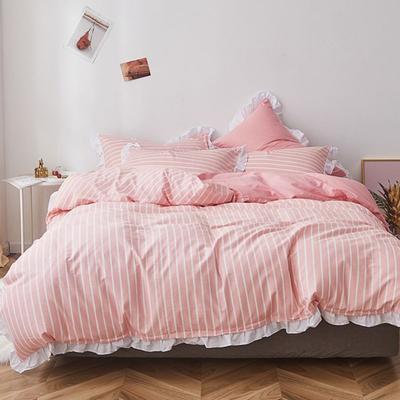 2019新款-全棉13070小清新花边四件套 三件套1.2m(4英尺)床 甜心