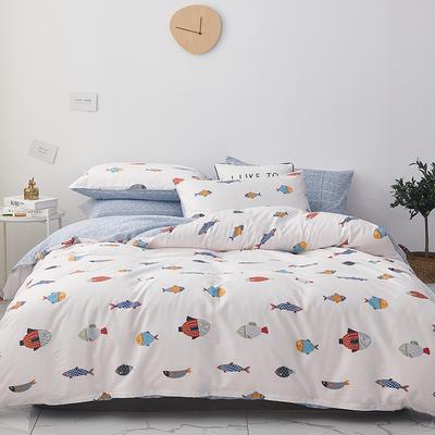 2019新款-小清新系列四件套 四件套1.5m(5英尺)床 好多鱼