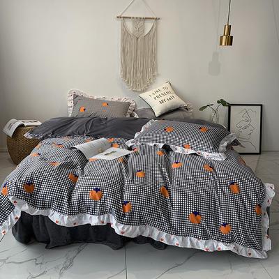 2019新款-韩版公主风秋冬新款棉加绒床裙款四件套 床单款四件套1.5m床-1.8m床 格子橙