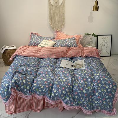 2019新款-韩版公主风秋冬新款棉加绒床裙款四件套 床单款四件套1.5m床-1.8m床 花溪