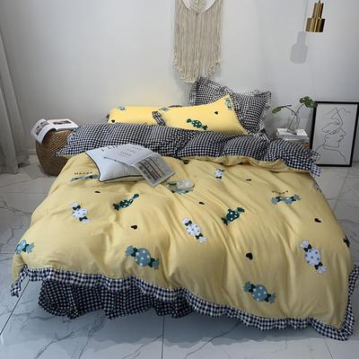 2019新款-韩版公主风秋冬新款棉加绒床裙款四件套 床单款四件套1.5m床-1.8m床 快乐糖果