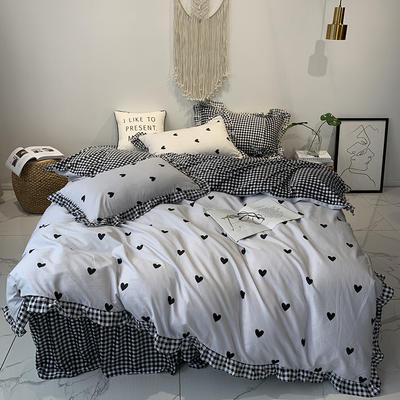 2019新款-韩版公主风秋冬新款棉加绒床裙款四件套 床单款四件套1.5m床-1.8m床 暖暖-白