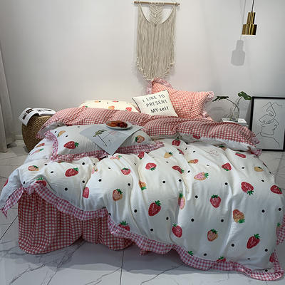 2019新款-韩版公主风秋冬新款棉加绒床裙款四件套 床单款四件套1.5m床-1.8m床 甜甜的爱