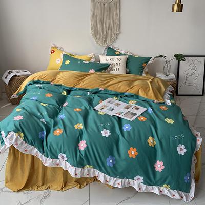 2019新款-韩版公主风秋冬新款棉加绒床裙款四件套 床单款四件套1.5m床-1.8m床 泫雅花-绿