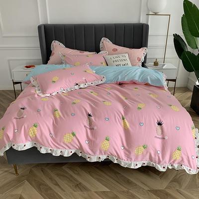 2019新款-全棉花边公主混搭风四件套实拍 床单款四件套1.5m(5英尺)床 菠萝物语
