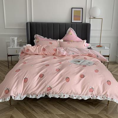 2019新款-全棉花边公主混搭风四件套实拍 床单款四件套1.5m(5英尺)床 草莓