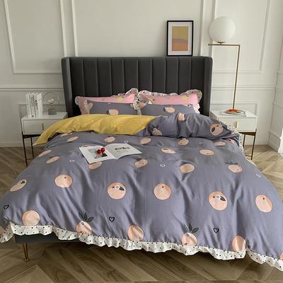 2019新款-全棉花边公主混搭风四件套实拍 床单款四件套1.5m(5英尺)床 橙子