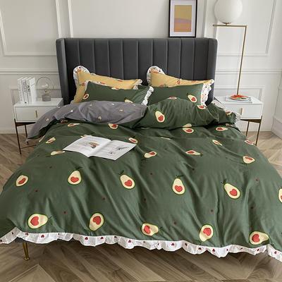 2019新款-全棉花边公主混搭风四件套实拍 床单款四件套1.5m(5英尺)床 花边牛油果