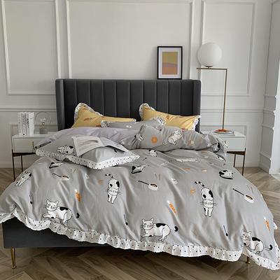 2019新款-全棉花边公主混搭风四件套实拍 床单款四件套1.5m(5英尺)床 萌宠猫咪
