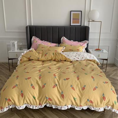 2019新款-全棉花边公主混搭风四件套实拍 床单款四件套1.5m(5英尺)床 甜心萝卜