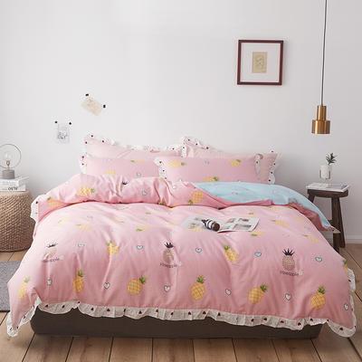 2019新款-全棉花边公主混搭风四件套机拍 床单款四件套1.5m(5英尺)床 菠萝物语
