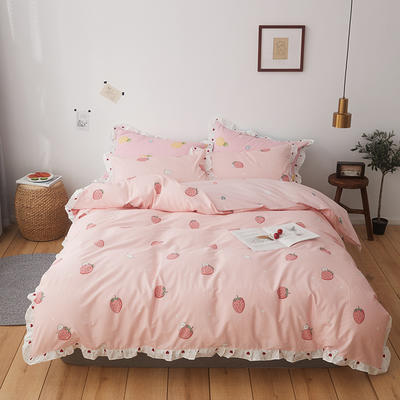 2019新款-全棉花边公主混搭风四件套机拍 床单款四件套1.5m(5英尺)床 草莓