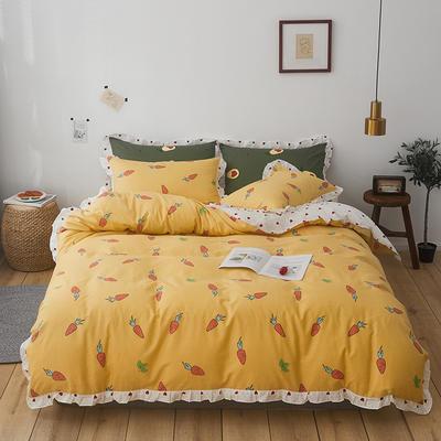 2019新款-全棉花边公主混搭风四件套机拍 床单款四件套1.5m(5英尺)床 甜心萝卜