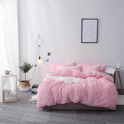 2019新款-魔法绒纯色双拼四件套 床单款1.8m(6英尺)床 安妮-粉