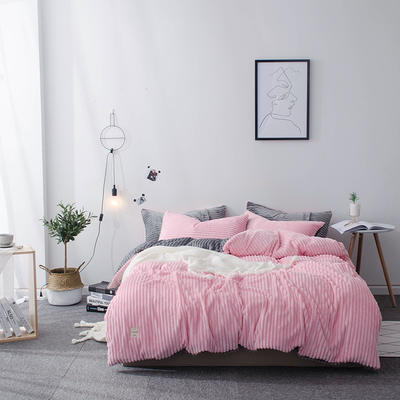 2019新款-魔法绒纯色双拼四件套 床单款1.8m(6英尺)床 安妮-粉灰