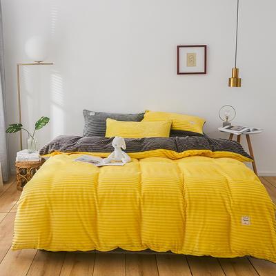 2019新款-魔法绒纯色双拼四件套 床单款1.8m(6英尺)床 安妮-黄灰