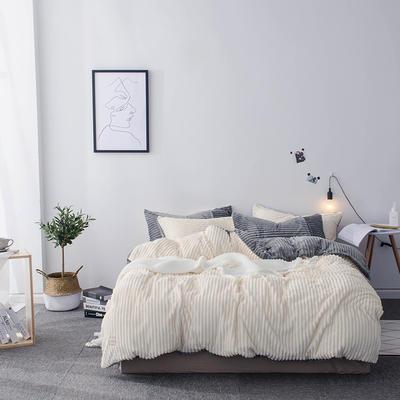 2019新款-魔法绒纯色双拼四件套 床单款1.8m(6英尺)床 安妮-米灰