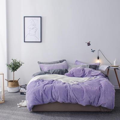 2019新款-魔法绒纯色双拼四件套 床单款1.8m(6英尺)床 安妮-紫灰