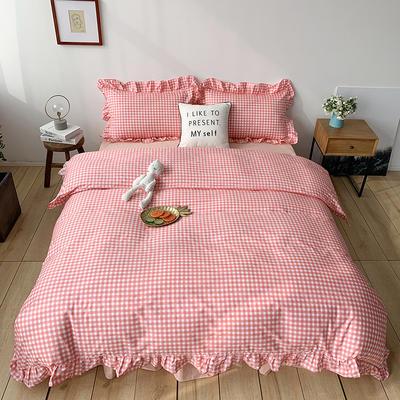2020新款-全棉荷叶边复古格子系列四件套 床单款四件套1.5m(5英尺)床 粉粉格子