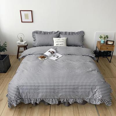 2020新款-全棉荷叶边复古格子系列四件套 床单款三件套1.2m(4英尺)床 复古格子黑