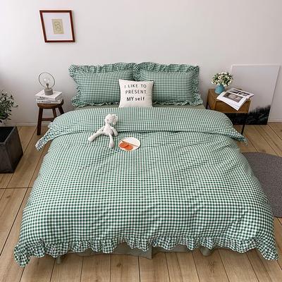 2020新款-全棉荷叶边复古格子系列四件套 床单款三件套1.2m(4英尺)床 复古格子绿