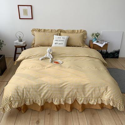 2020新款-全棉荷叶边复古格子系列四件套 床单款三件套1.2m(4英尺)床 复古黄