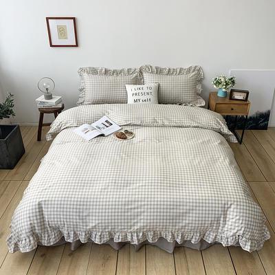 2020新款-全棉荷叶边复古格子系列四件套 床单款三件套1.2m(4英尺)床 浅驼色格子