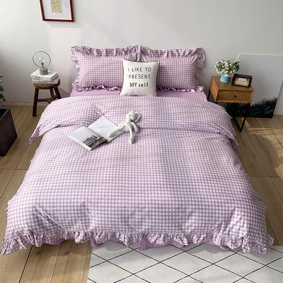 2020新款-全棉荷叶边复古格子系列四件套 床单款四件套1.5m(5英尺)床 深紫格子