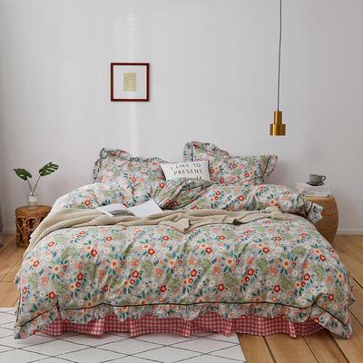 2020新款-全棉花边轻奢风系列四件套 床单款三件套1.2m(4英尺)床 倾国倾城