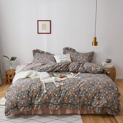 2020新款-全棉花边轻奢风系列四件套 床单款三件套1.2m(4英尺)床 碎花拾影