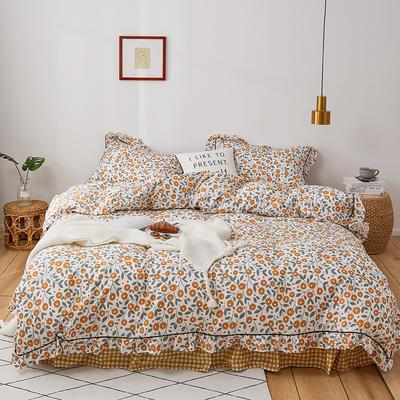 2020新款-全棉花边轻奢风系列四件套 床单款三件套1.2m(4英尺)床 悠悠花海