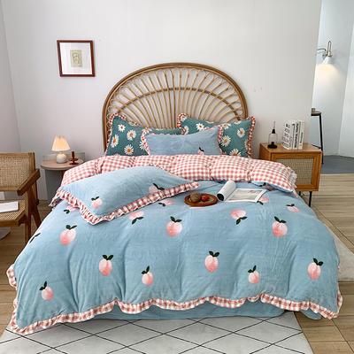 2020新款-牛奶绒花边款四件套 1.8m床单款四件套 桃子蓝
