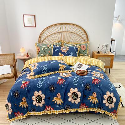 2020新款-牛奶绒花边款四件套 1.8m床单款四件套 向阳花