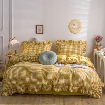 2020秋冬棉+绒格子荷叶边系列四件套 1.5m床单款四件套 棉绒姜黄格
