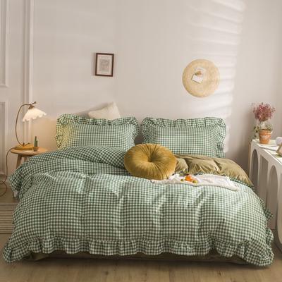 2020秋冬棉+绒格子荷叶边系列四件套 1.5m床单款四件套 棉绒绿格