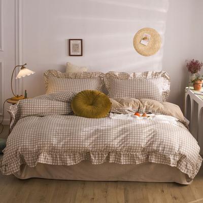 2020秋冬棉+绒格子荷叶边系列四件套 1.5m床单款四件套 棉绒驼格