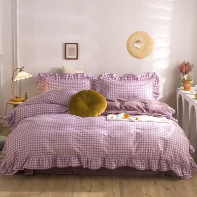 2020秋冬棉+绒格子荷叶边系列四件套 1.5m床单款四件套 棉绒紫格