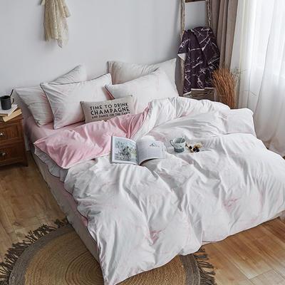 2018新款北欧ins风保暖133*72全棉+水晶绒套件 1.5m(5英尺)床 大理石纹粉