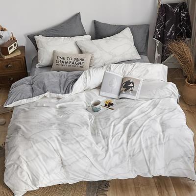 2018新款北欧ins风保暖133*72全棉+水晶绒套件 1.5m(5英尺)床 大理石纹灰