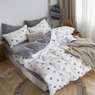 2018新款北欧ins风保暖133*72全棉+水晶绒套件 1.5m(5英尺)床 小黑点