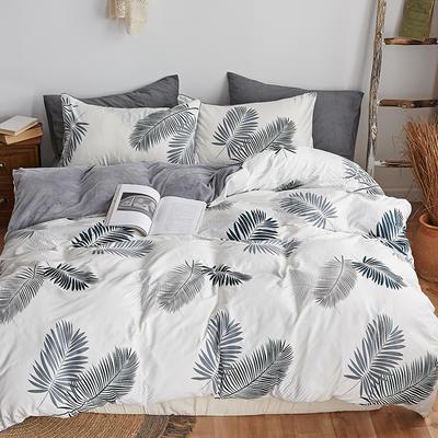 2018新款北欧ins风保暖133*72全棉+水晶绒套件 1.5m(5英尺)床 棕榈叶