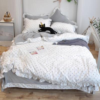 2018新款棉加绒荷叶边款四件套-实拍 1.8m(6英尺)床 菠萝