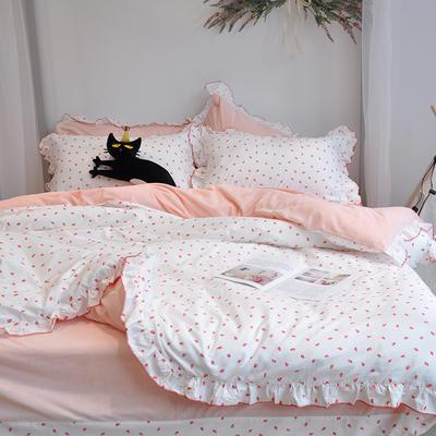 2018新款棉加绒荷叶边款四件套-实拍 1.8m(6英尺)床 草莓