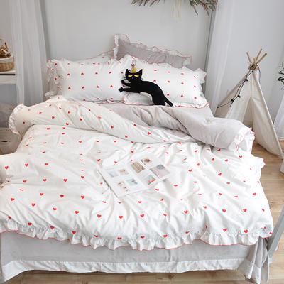 2018新款棉加绒荷叶边款四件套-实拍 1.8m(6英尺)床 红色爱心