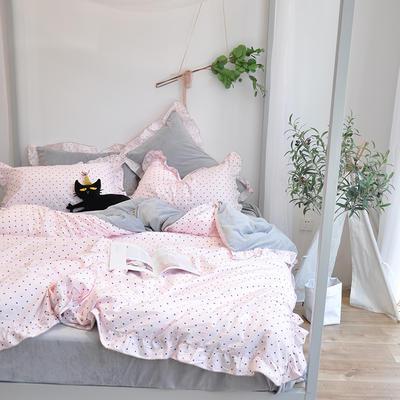 2018新款棉加绒荷叶边款四件套-实拍 1.8m(6英尺)床 蓝色爱心