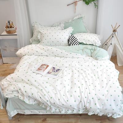2018新款棉加绒荷叶边款四件套-实拍 1.8m(6英尺)床 仙人掌绿色